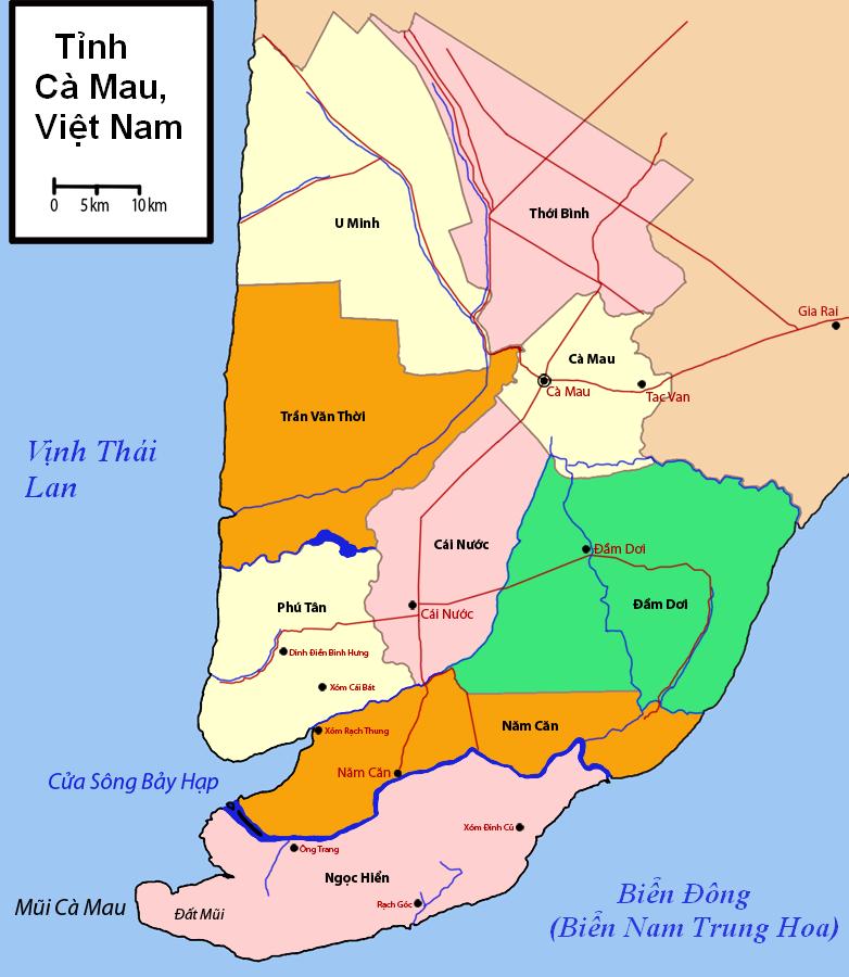 Thông tin hành chính tỉnh Cà Mau